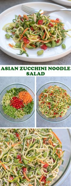 This Asian Zucchini Noodle Salad with Ginger Sesame-Soy Dressing is a vibrant, wholesome choice to add to the menu for your next summer gathering. It makes for a delicious side dish or add grilled chicken or shrimp to make it a meal. Zucchini Noodles Salad, Noodle Salad, Asparagus Salad, Ramen Noodle, Shrimp Salad, Spinach Salad, Egg Salad, Fruit Salad, Veggie Side Dishes