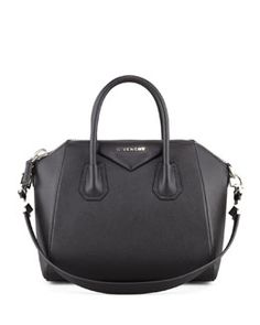 V1MH4 Givenchy Antigona Small Sugar Goatskin Satchel Bag, Black