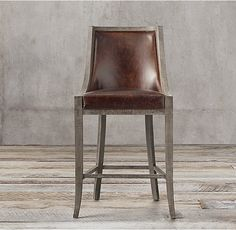 19th C. French Empire Leather Barstool