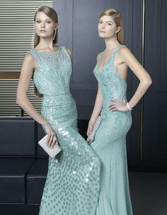 Two Cocktail Dresses by Rosa Clara Collection 2014 - Kleidung Mode Beautiful Cocktail Dresses, Beautiful Dresses, Chiffon Evening Dresses, Evening Gowns, Art Deco Wedding Theme, Estilo Art Deco, Bridesmaid Dresses, Wedding Dresses, Prom Dresses