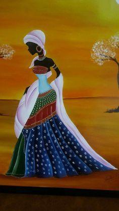 An african girl Black Art Painting, Fabric Painting, African Art Paintings, African Artwork, Afrique Art, Art Africain, African American Art, African Girl, African Women