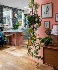 2019 Interior Design Trends I'm Really Excited About - Swoon Worthy The+Pink+House+pink+and+marble+kitchen+tiles Interior Design Trends, Interior Design Kitchen, Home Design, Vintage Interior Design, Vintage Interiors, Colorful Interiors, Design Ideas, Kitchen Colors, Kitchen Decor