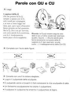 i suoni CU QU CQU - Il Forum di Maestra Sabry Italian Grammar, Italian Vocabulary, School Template, Learning Italian, Reading Material, Home Schooling, Literacy, Homeschool, Teaching