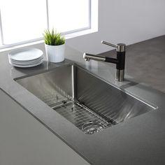 Kraus KHU100 32 KPF1622 KSD30SN 32 Inch Undermount Single Bowl Kitchen Sink  With Kitchen Faucet And Soap Dispenser, Satin Nickel Finish     Amazon.