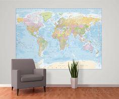 Political World Map Reproduction murale géante Papier peint sur AllPosters.fr