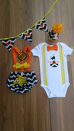 First Birthday Cake Smash Outfit Construction Black White