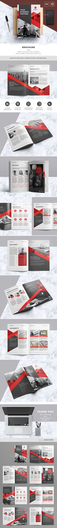 Brochure Template InDesign INDD - 16 Pages, A4 & US Letter Size