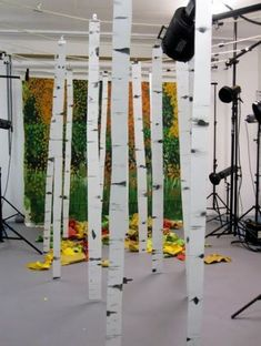 28 Ideas Birch Tree Silhouette Forests For 2019 Theatre Props, Stage Props, Theater, Stage Backdrops, Fake Trees, Church Stage Design, Displays, Theatre Design, Stage Set
