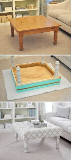This simple guide will show you how to turn an old coffee table into a original DIY ottoman. So don't waste your time and money and start this DIY! Refurbished Furniture, Repurposed Furniture, Furniture Makeover, Unique Furniture, Rustic Furniture, Repurposed Wood, Redoing Furniture, Garden Furniture, Decoupage Furniture