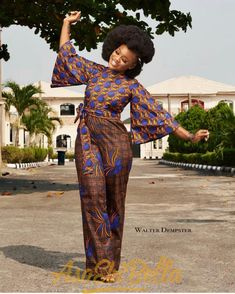 Ankara Jumpsuit Designs in 2019 you can Try- Blue Beans African Print Dresses, African Fashion Dresses, African Dress, African Prints, Ankara Fashion, Nigerian Fashion, African Outfits, African Clothes, African Lace