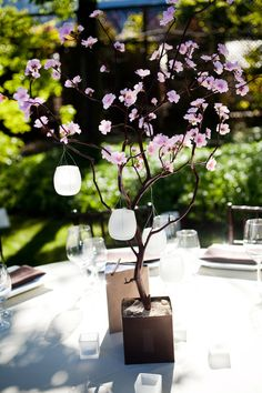 Cherry Blossom Centerpiece with Hanging Lanterns