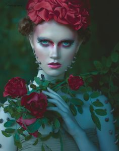 SS Photography #face #red #roses #leaves #makeup #thorns #hand #holding #flower #romantic