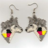 free native american beading patterns | wolf medicine seed bead earrings wolf seed bead earrings designed