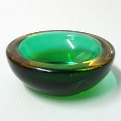 Murano sommerso glass GEODE. Small bowl/ashtray/dish vintage/retro 60s green…