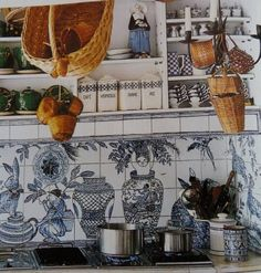 Isabelle de Brochgrave painted family stories on the ceramic tiles in the spirit of Portuguese azulejos.