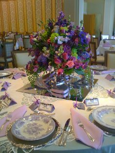 Lavender transfer ware completes the table