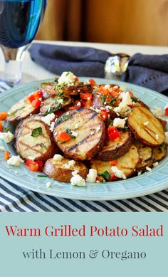 Warm Grilled Potato Salad with Lemon and Oregano - A tasty, warm grilled potato salad with plenty of bright fresh flavours in the dressing and finished with some crumbled feta cheese.