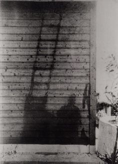 Atomic shadow of a man and a ladder. Nagasaki, 1945.