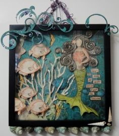 Mermaid Mixed Media - I created this for Scraps of Darkness ..and made my first ever video tutorial on http://www.youtube.com/watch?v=NlOcKWyq-2g for my creative process - details also on my blog at www.justaboutthedetails.com - mermaid, mixed media, tutorial, youtube video tutorial, wall art, diorama