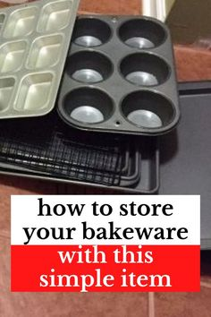 If you don't have a lot of storage space in your kitchen and your bakeware is cluttered you'll love this simple and easy kitchen storage solution. Cheap dollar store kitchen organization hack if you don't have a pantry or lots of kitchen cabinets or drawers. Kitchen Organisation Hacks, Kitchen Storage Solutions, Kitchen Organization, Household Organization, Organizing Tips, Kitchen Hacks, Kitchen Ideas, Cheap Storage, Storage Hacks