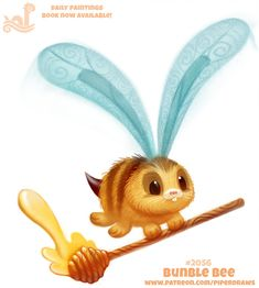 Daily Paint Bunble Bee by Cryptid-Creations on DeviantArt Cute Food Drawings, Cute Animal Drawings, Kawaii Drawings, Kawaii Art, Kawaii Doodles, Anime Animals, Cute Animals, Animal Puns, Animal Food