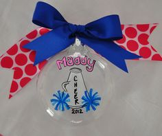 Cheer Ornament - Personalized Ornamnet - Christmas Ornament - CUSTOMIZED YOUR COLORS. $10.00, via Etsy.