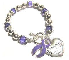 Epilepsy Awareness Silver Ribbon and Heart Charm Bracelet