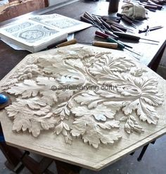 Agrell Architectural Carving reproducing a hand carved wood panel from the ceiling of the palace of the Duke of Milan.