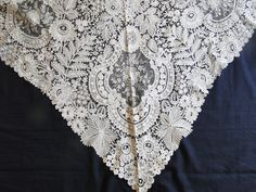 CIRCA 1860's,ELABORATE BRUSSELS POINT DE GAZE TRIANGULAR SHAWL. Rare and very beautiful! Part of a important deaccess...