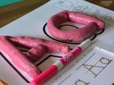 Printable Alphabet Mats with Neon Glitter Play Dough!
