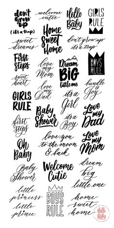 Introducing HELLO BABY: Illustrations, Lettering Overlays & Surface Patterns This collection contains over 120 hand crafted illustrations: toys, geometric Lettering Brush, Hand Lettering Quotes, Calligraphy Quotes, Typography, Welcome Baby Girl Quotes, Baby Quotes, Scrapbooking Stickers, Shower Quotes, Grafik Design