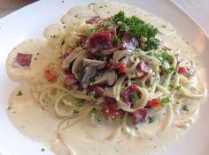 Carbonara beef bacon mushroom spaghetti @ Coffee Chemistry Cafe