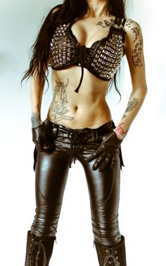 Image of TOXIC VISION studded leather bra top