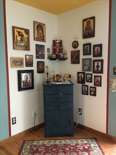 My Icon corner. The right side has all our family patron Saints.