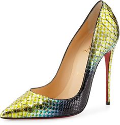 Christian Louboutin So Kate Python Mermaid Red Sole Pumps