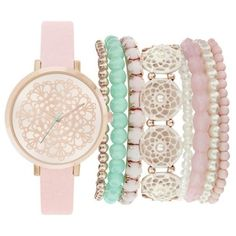 Jessica Carlyle Pink Womens Pink Pearl Watch  Bangle Set - Women's ($30) ❤ liked on Polyvore featuring jewelry, watches, pink, pearl watches, bangle jewelry, pink wrist watch, pink bangle bracelet and pearl jewelry