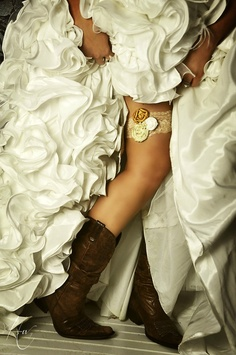Country wedding idea...lace and rosette garter with cowboy boots. love.