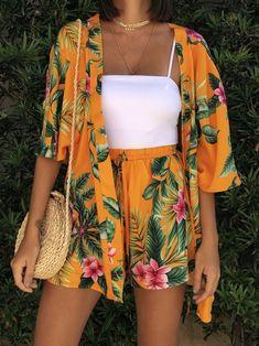 Sunset Kimono Set and Shorts- Sunset Kimono Set and Shorts - Source by fashion_fe moda Luau Outfits, Pool Party Outfits, Hawaii Outfits, Curvy Outfits, Teen Fashion Outfits, Cute Summer Outfits, Cute Casual Outfits, Stylish Outfits, Miami Outfits