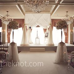 WOW. Real Weddings - A Romantic Traditional Wedding in Long Grove, IL - White Drapped Indoor Huppah