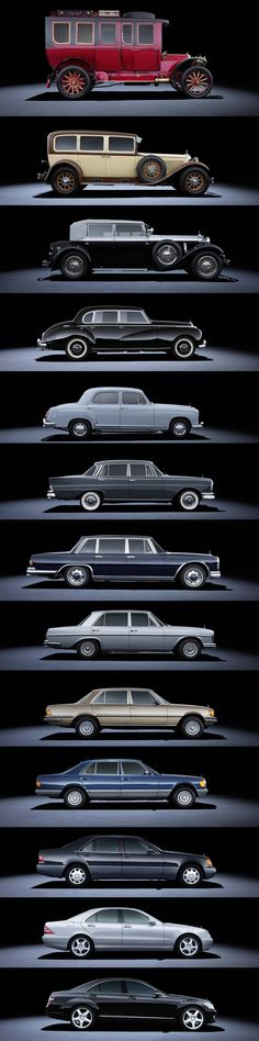Merecedes S-Class sedans through the years