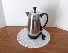 Faberware Chrome Electric Percolator - 1960's- Vintage Percolator - Chrome Coffee Pot by momsfavoriteshop on Etsy