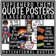 You will LOVE these Motivational Quote Posters Superhero Theme! They can be so inspiring to students. Hang these beautiful Bright and Colorful Posters in your room! They are classy, fun, and simple that they compliment MANY classroom themes! These are perfect for laminating and hanging all year on your bulletin boards or class door! Match up with another color and it works perfectly!