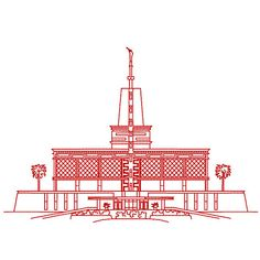 Mexico City Mexico LDS Temple Redwork by TheEmbroideryDepot
