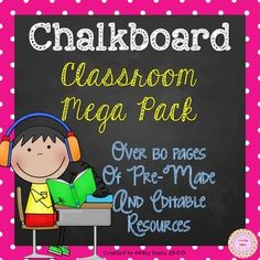 This editable chalkboard classroom pack includes everything you need to decorate and label your classroom.