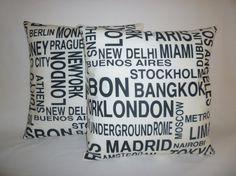"""Funky Retro Metro PAIR Black White Cities Designer Cushion Pillow Covers. Pillowcases, Shams, Slips.Scatter. 16"""" (40cm)"""