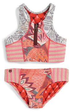 Maaji 'Cinnamon Surfer' Two-Piece Reversible Swimsuit (Big Girls) Toddler Swimsuits, Cute Swimsuits, Cute Bikinis, Two Piece Swimsuits, Swimsuits For Tweens, Summer Bikinis, Corset, Girls Swimming, Inspiration Mode