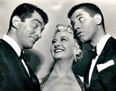 Dean Martin and Jerry Lewis with Marilyn Maxwell.