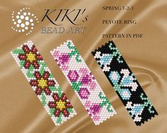 Pattern, peyote flowery rings Spring - peyote ring set of 3 patterns in PDF - instant download
