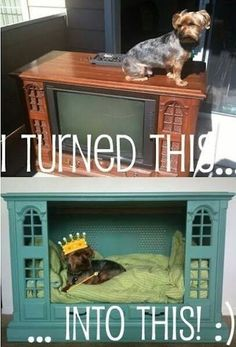 Repurposing a giant old television frame into a doggie palace. I love this one! The regal dog may gaze from his throne.