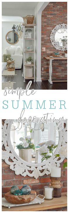 Keeping It Simple - casual, affordable, no fuss home decorating ideas with an easy going blend of traditional cottage farmhouse style, DIY and vintage finds for Summer and beyond. #decoratingideas #homedecoratingideas #neutralhome #hometour #cottagestyle #farmhousestyle #simpledecor #diyhome Cottage Farmhouse, Antique Farmhouse, Cottage Homes, Cottage Style, Farmhouse Style, Kitchen Island Bar, Lemon Wreath, Brass Sconce, Keep It Simple